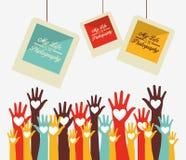 las manos para arriba diseñan stock de ilustración