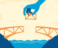 Las manos pusieron el pedazo pasado para terminar el puente stock de ilustración
