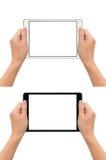 Las manos que sostienen la tableta adentro toman gesto de la foto Foto de archivo libre de regalías