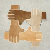 Las manos reciclaron el arte de papel Fotografía de archivo