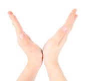 Las manos representan la carta V del alfabeto fotos de archivo libres de regalías