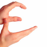 Las manos representan la letra e Fotografía de archivo