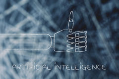 Las manos robóticas que hacen los pulgares suben el gesto, inteligencia artificial imagen de archivo