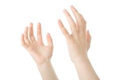 Las manos se abren en rezo Foto de archivo