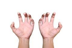 Las manos son aflojan algo en el fondo blanco Fotografía de archivo libre de regalías