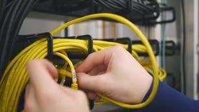 Las manos substituyen el cable de Ethernet amarillo almacen de video