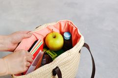 Las manos toman el bolso de mimbre de moda elegante con los libros de texto y los cuadernos, la caja del almuerzo y Apple verde,  imagen de archivo libre de regalías
