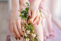 Las manos y pies con las flores, cuidado de las mujeres hermosas de piel fotos de archivo