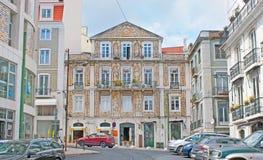 Las mansiones en Chiado de Lisboa Imagen de archivo