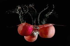 Las manzanas cayeron en el agua foto de archivo libre de regalías
