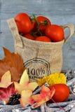 Las manzanas orgánicas en un yute empaquetan con las hojas de otoño Foto de archivo
