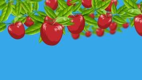 Las manzanas rojas de la historieta que crecían de ramas en un enfoque hacia fuera tiraron stock de ilustración