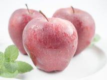 Las manzanas rojas todas se colocan en una placa blanca Foto de archivo libre de regalías