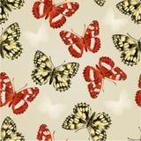 Las mariposas inconsútiles de la textura dos platean vector del fondo Imagenes de archivo