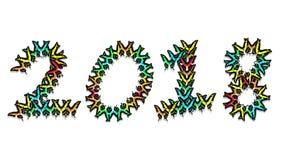 Las mariposas multicoloras animadas llegan, componen una inscripción número 2018 almacen de metraje de vídeo