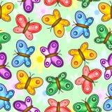 Las mariposas y las flores saltan diseño inconsútil colorido de la materia textil del vector del modelo stock de ilustración