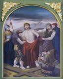 las 10mas estaciones de la cruz, Jesús se pelan de su ropa Imágenes de archivo libres de regalías