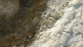 Las masas de hielo flotante de hielo flotan cerca de orilla Corrientes ocultas calientes metrajes