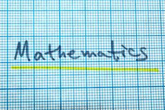 Las matemáticas de la palabra en un cuaderno para dibujar ilustración del vector