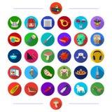 , las materias textiles, el restaurante, la historia y el otro icono del web en estilo plano accesorios, deportes, turismo, icono stock de ilustración