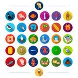 Las materias textiles, el taller, el cinematógrafo y el otro icono del web en estilo plano fenómeno, animales, productos, iconos  stock de ilustración