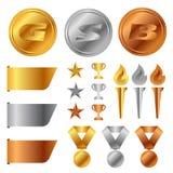 Las medallas de bronce del oro, la taza del trofeo, el premio del comienzo y la antorcha y la bandera de plata de la etiqueta vec libre illustration