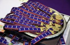 Las medallas de oro del campeonato del mundo de IIHF Foto de archivo libre de regalías