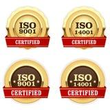 Las medallas de oro ISO 9001 certificaron - la insignia de la calidad Ilustración del Vector