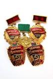 Las medallas soviéticas para el trabajo valeroso Imagen de archivo libre de regalías