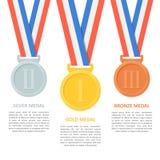 Las medallas vector el sistema en el fondo blanco Fotos de archivo libres de regalías