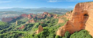 Las Medulas, antyczne rzymskie kopalnie w Leon, Hiszpania Fotografia Royalty Free