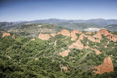 Las Medulas gold mines. Ancient roman gold mines landscape in Spain Royalty Free Stock Images