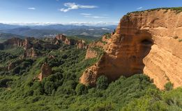 Las Medulas historic gold mining mountains near the town of Ponferrada in the province of Leon, Castile and Leon, Spain. View from Royalty Free Stock Image