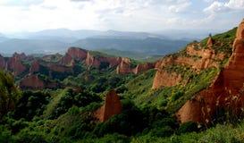 Las Medulas Roman Gold mines. Unesco World Heritage site of Las Medulas in northern Spain. The site of Roman gold mining showing extraordinary scenery Stock Image