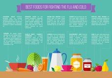 Las mejores comidas para luchar la gripe y el frío Fotos de archivo libres de regalías