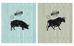 Las mejores etiquetas de la carne stock de ilustración