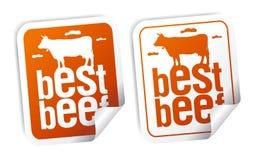 Las mejores etiquetas engomadas de la carne de vaca Imágenes de archivo libres de regalías