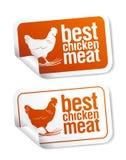 Las mejores etiquetas engomadas de la carne del pollo Imagen de archivo libre de regalías