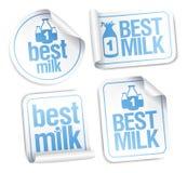 Las mejores etiquetas engomadas de la leche. Imágenes de archivo libres de regalías