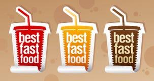 Las mejores etiquetas engomadas de los alimentos de preparación rápida. Foto de archivo