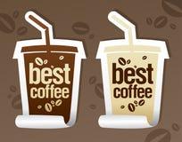 Las mejores etiquetas engomadas del café. Foto de archivo libre de regalías