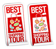 Las mejores etiquetas engomadas del viaje de las compras. Fotos de archivo