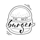 Las mejores letras de la hamburguesa en el fondo blanco Texto del dibujo de la mano del vector en la hamburguesa pintada Alimento Imagen de archivo