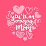 Las mejores letras de la mano del vector de la mamá nunca Ejemplo feliz de la caligrafía del día de madres con los corazones exha ilustración del vector
