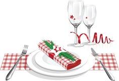 Las mejores placas de cena de la Navidad y vector de cristal