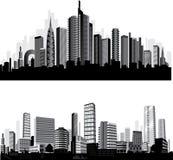 Las mejores siluetas de la ciudad del vector. Conjunto.