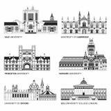 Las mejores universidades nacionales Edificios planos de Yale, Oxford, Harvard y Cambridge, Princeton y Universidad de UCL ilustración del vector