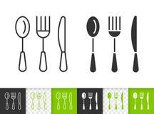 Las mercancías simples de la cocina de los cubiertos ennegrecen la línea icono del vector libre illustration