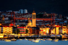 Las Mercedes church and hanging bridge from Getxo Royalty Free Stock Photography