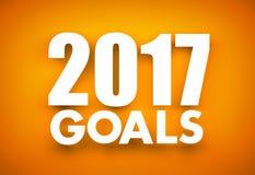 Las metas en el Año Nuevo 2017 - redacte la ejecución en fondo anaranjado Imagen de archivo libre de regalías